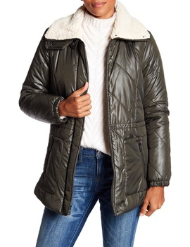 Faux Shearling Trim Puffer Coat by Kenneth Cole New York