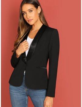 Single Button Satin Collar Classic Blazer by Sheinside