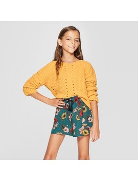 Girls' V Neck Chenille Sweater   Art Class™ Gold by Art Class