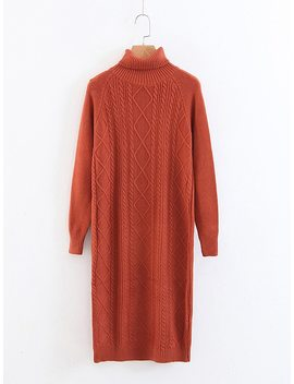 Cable Knit High Neck Sweater Dress by Sheinside