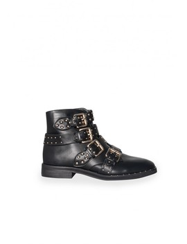 Sally Black Studded Buckle Ankle Boots by Missy Empire