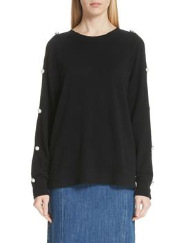 Button Sleeve Cashmere Sweater by Michael Kors