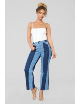 Duplicity Life Colorblock Jeans   Medium Blue Wash by Fashion Nova