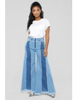 Throwback High Rise Wide Leg Jeans   Light Blue Wash by Fashion Nova