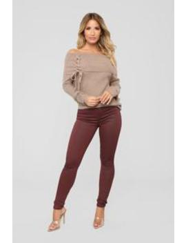 The Full Package High Rise Skinny Jeans   Burgundy by Fashion Nova