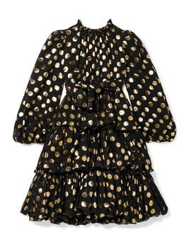 Ages 8   12 Tiered Polka Dot Fil Coupé Silk Blend Chiffon Dress by Dolce & Gabbana Kids