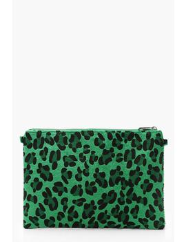 Coloured Leopard Ziptop Clutch And Chain by Boohoo