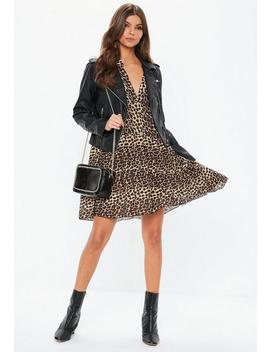 Brown Leopard Print Long Sleeve Smock Dress by Missguided