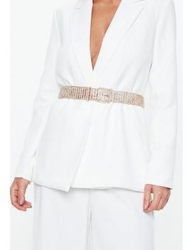 Gold Look Wide Diamante Belt by Missguided