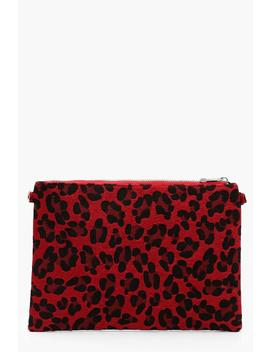 Coloured Leopard Ziptop Clutch With Chain by Boohoo
