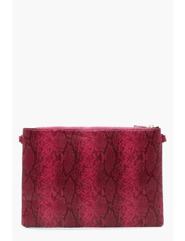 Faux Python Snake Clutch With Chain by Boohoo