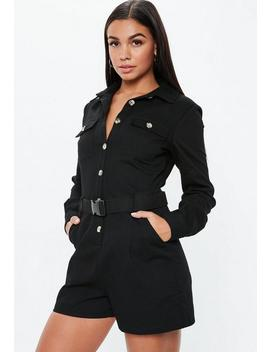 Black Utility Long Sleeve Belted Playsuit by Missguided