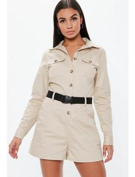 Sand Utility Long Sleeve Belted Playsuit by Missguided