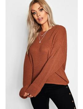 Plus Cuff Detail Fisherman Jumper by Boohoo