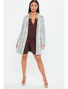 Chocolate Zip Front Square Unitard by Missguided