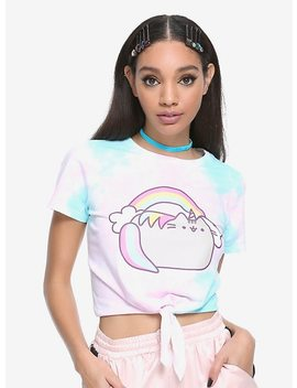 Pusheen Tie Dye Front Tie Girls Crop Top by Hot Topic