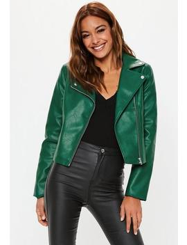 Green Ultimate Pu Biker Jacket by Missguided