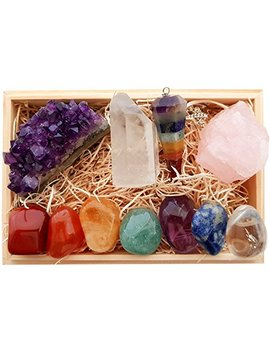 Premium Healing Crystals Gift Kit In Wooden Box   7 Chakra Set Tumbled Stones, Rose Quartz, Amethyst Cluster, Crystal Points, Chakra Pendulum + 82 Page E Book + 20x6 Reference Guide Poster, Gift Ready by Zatny Crystals