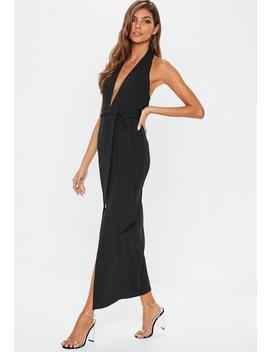 Black Plunge Tie Waist Maxi Dress by Missguided