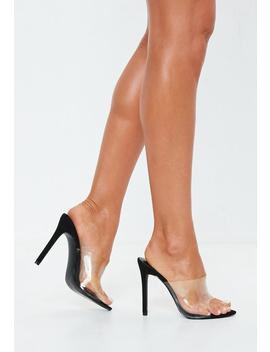 Black Pointed Clear Mules by Missguided