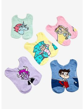 Star Vs. The Forces Of Evil Character No Show Socks 5 Pair by Hot Topic