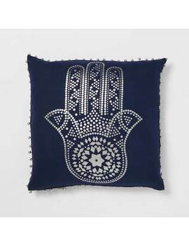 Hamsa Hand Foil Print Pillow   Navy by Dormify