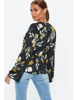 Navy Floral Drape Plunge Blouse by Missguided