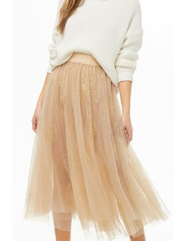 Glittered Sheer Mesh Skirt by Forever 21