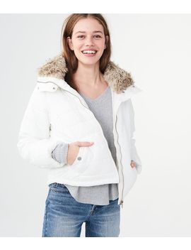 Solid Faux Fur Trim Puffer Jacket by Aeropostale