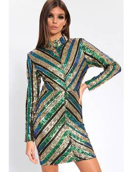 Multi Chevron Sequin Bodycon Dress by I Saw It First