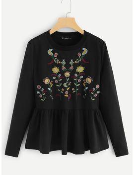 Floral Embroidered Peplum Hem Sweatshirt by Shein