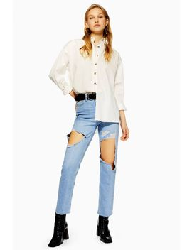 Bleach Exposed Thigh Ripped Straight Leg Jeans by Topshop