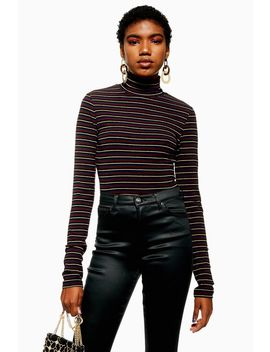Stripe Glitter Funnel Neck Top by Topshop