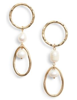 Pearl Double Drop Hoop Earrings by Halogen®