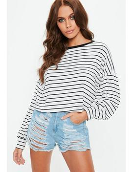white-drop-shoulder-boxy-all-over-stripe-top by missguided