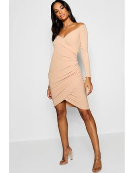 Tall Off Shoulder Rib Wrap Dress by Boohoo