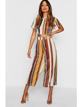 Knitted Cropped Stripe Metallic Set by Boohoo