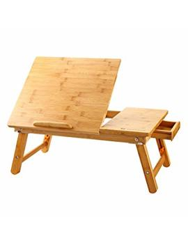 Laptop Desk Nnewvante Table Adjustable 100 Percents Bamboo Foldable Breakfast Serving Bed Tray W' Tilting Top Drawer by Nnewvante