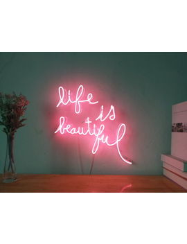 New Life Is Beautiful Neon Sign For Bedroom Wall Home Decor Artwork With Dimmer by Ebay Seller