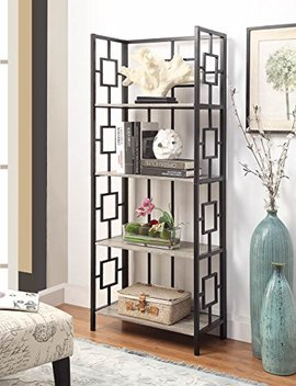 Weathered Grey Oak Finish Black Metal Wall 4 Tier Bookshelf Bookcase With Square Design by E Home Products