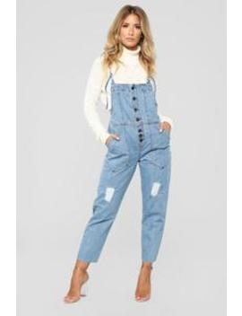 It's Whatever Denim Overall   Light Wash by Fashion Nova