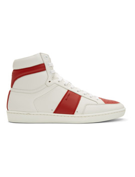 White & Red Court Classic Sl/10 High Top Sneakers by Saint Laurent