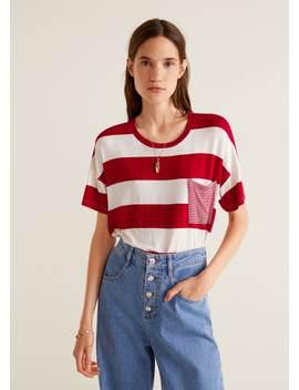 T Shirt à Rayures Poche by Mango