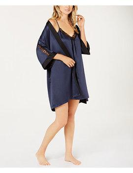 Sets To Go Satin Chemise & Wrap Robe by Linea Donatella
