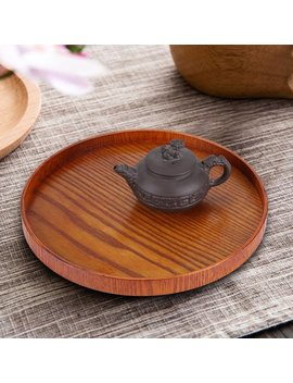 Dilwe Round Natural Wood Serving Tray Wooden Plate Tea Food Server Dishes Water Drink Platter, Water Platter,Serving Tray by Serving Platters & Trays