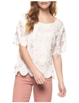 Scalloped Floral Top by Dex