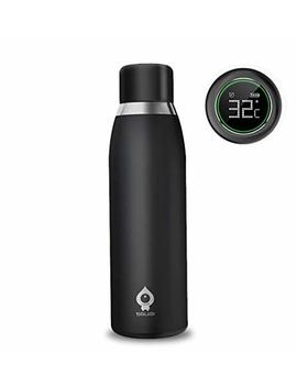 Pow Cube Smart Water Bottle Cup,Intelligent Water Bottles Automatic Reminder And Temperature Display 500 Ml Steel Vacuum Cup (Black) by Pow Cube