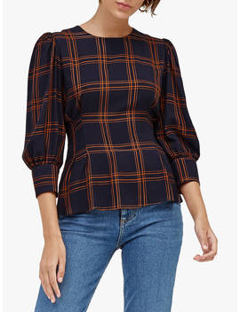 Warehouse Check Puff Sleeve Top, Navy by Warehouse