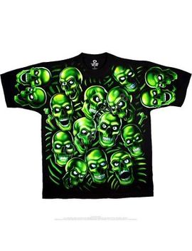 New Green Skull Pile T Shirt by Liquid Blue