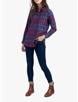 Joules Brushed Cotton Checked Shirt, Plum Check by Joules